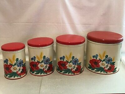 VINTAGE 1940'S-50'S TIN METAL KITCHEN CANISTERS VIVID RED& CREAM W/FLOWER DECALS