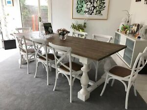 Timber Dinning Table 8 Chairs Package