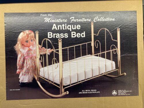 """Vintage Baby Doll Brass Crib ~ Metal Bed ~ 18"""" mattress ~ NI"""