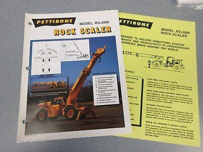 Rare Pettibone Rs-2000 Rock Scaler Sales Sheets