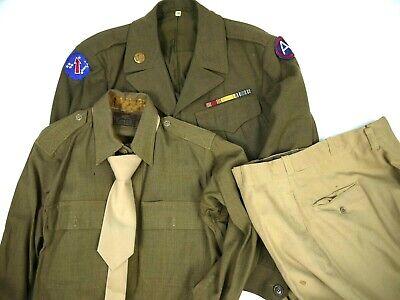 Vintage 40s Ike Jacket Full Uniform 3rd Army post WW2 1946 USARPAC Pants Shirt