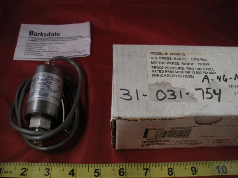 Barksdale 426H3-12 Pressure Transducer Sensor Range 0-2000 psig 138bar 14-30vdc