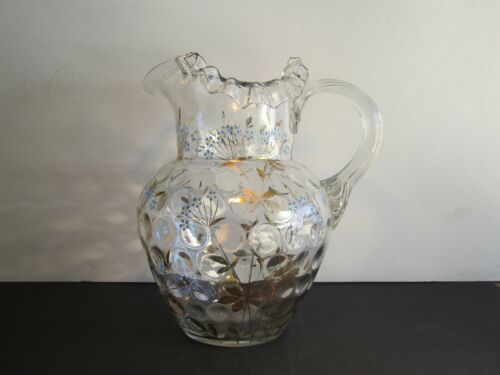 Antique Inverted Coin Dot Hand Blown & Decorated Clear Glass Water Pitcher