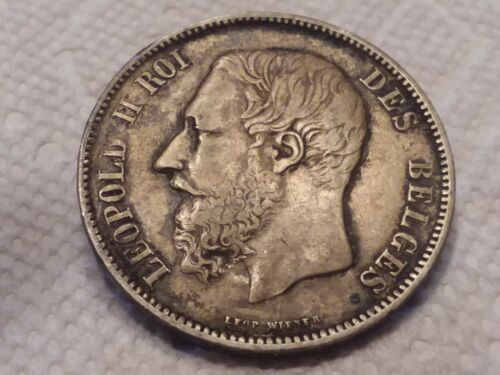 Belgium 5 franc 1867 King Leopold 2 second