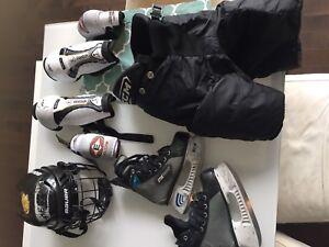 Boys size small hockey equipment