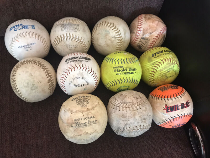 11 Used 12 Inch Softballs For Baseball