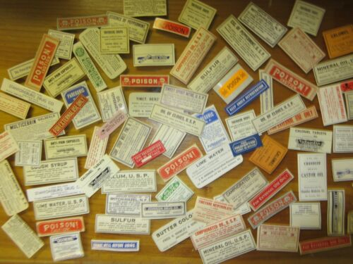 102+SMALL OLD PHARMACY-APOTHECARY-POISON-MEDICINE BOTTLE LABELS= SUPER=