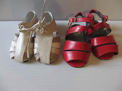 2 Paar Puppenschuhe, offene Halbschuhe creme und Sandalen rot ,Sohlenlänge: 11cm
