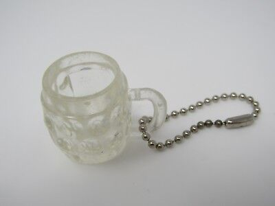 Vintage Foreign Keychain: Clear Plastic Beer Mug  (Clear Plastic Keychains)