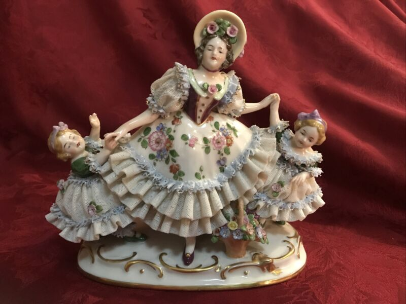 Large Exceptional Dresden Porcelain Lace Group Figurine Mother & Children