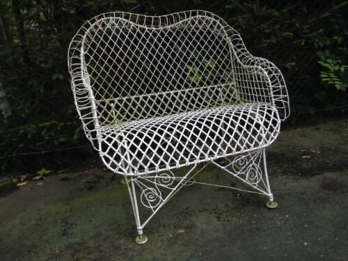 ANTIQUE AMERICAN VICTORIAN IRON GARDEN TWISTED WIRE BENCH LOVESEAT
