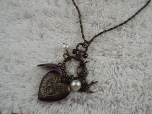 Brasstone Heart Locket Cluster Pendant Necklace (B43)