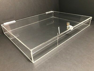 Acrylic Rectangular Countertop Display Case Lock Box 24 X 18 X 3 Box Display