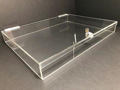 Acrylic Rectangular Countertop Display Case Lock Box 24 X 18 X 3 Box Display