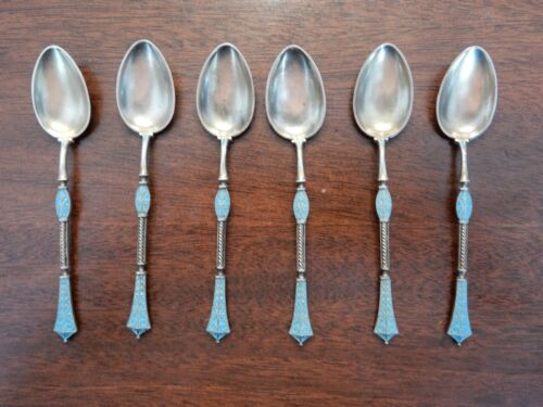 W. Sorensen Sterling Gold-wash Demitasse Spoons Blue Enameled