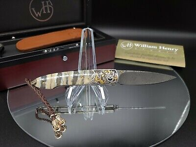 2010 William Henry Knife B10 Lancet Tudor Damascus Diamonds 24K Gold Mammoth