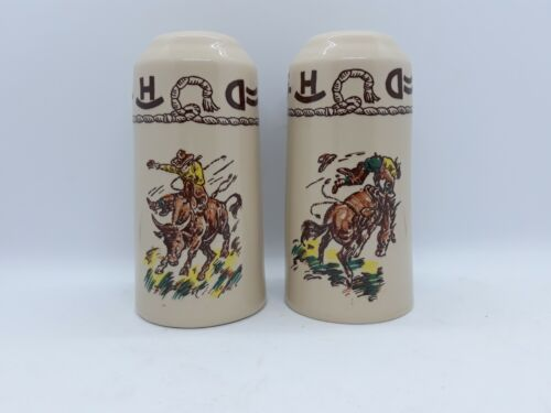 Wallace China Westward Ho RODEO Pattern S&P Salt Pepper Shakers Restaurant Ware
