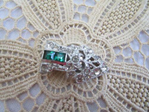 Vintage Art Deco Green & Clear Rhinestone Mini Scarf Dress Clip Pin Silver Tone