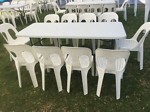 Plastic Pipee chairs and trestle tables for hire- CAN DELIVER LOCALLY Parmelia Kwinana Area Preview