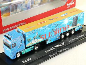 Herpa 120975 DAF XF Sunline Photovoltaik Sattelzug PC Vitirine OVP 1411-12-65