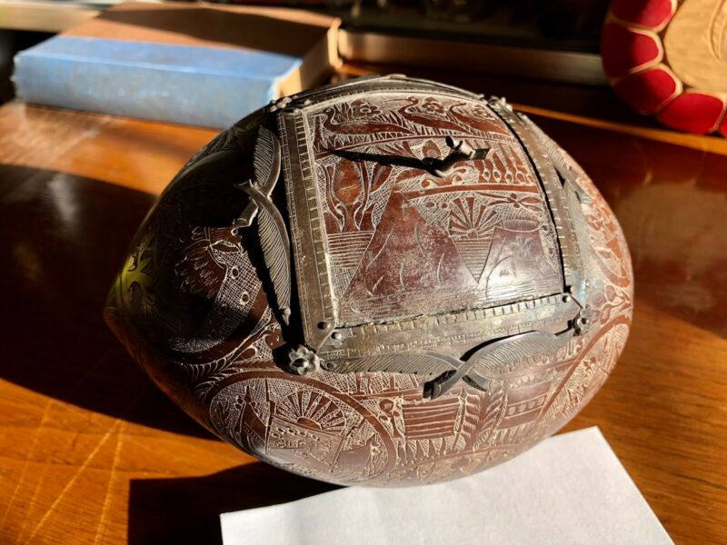 19th Century Folk Art Sailor's Carved coconut, Sterling Accents, Fraternal Flags