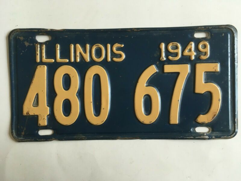 1949 Illinois License Plate 100% All Original Paint