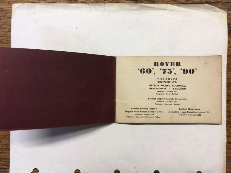 """Org. 1956 Rover """"60"""" """"75"""" """"90"""" Technical Specifications booklet"""