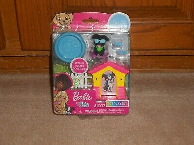 NEW, MATTEL BARBIE PETS 6 PIECE PLAYSET PUP w/HOUSE & POOL
