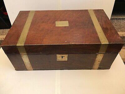 Victorian Walnut Brass Bound Writing Slope Box