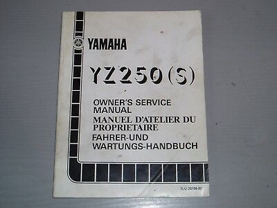 YAMAHA YZ250 (S)  WORKSHOP MANUAL, PART # 1LU-28199-80