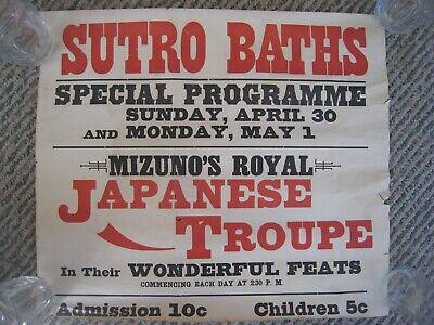 Rare Original 1900s SAN FRANCISCO ADVERTISING POSTER ' SUTRO BATHS ' Japanese