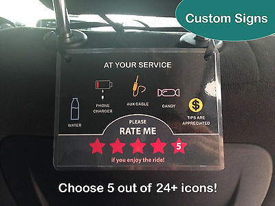 1 X Uber Lyft 5 Star Ratings Sign Display Card   Custom Messages