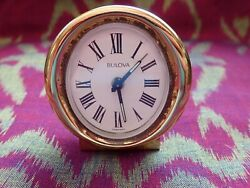 VINTAGE BULOVA PEDESTAL ALARM CLOCK. 2-5/8 TALL DESK/BEDSIDE. WORKS WELL. RARE