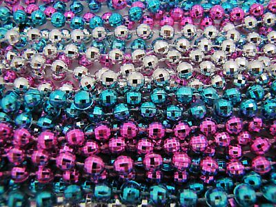 2 Dozen Mardi Gras Beads HOT PINK/BLUE/SILVER Baby Gender Reveal 24 NECKLACES - Pink And Blue Mardi Gras Beads