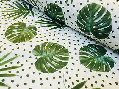 Green Polka Dot Palm Leaf Cotton Fabric - tropical leaves curtains -140cm wide Palms Fabric Footstool