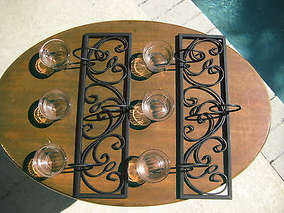 Set of 2 Metal Black Wrought Iron 3 Votive Candle Holders Wall Decor Tea Light