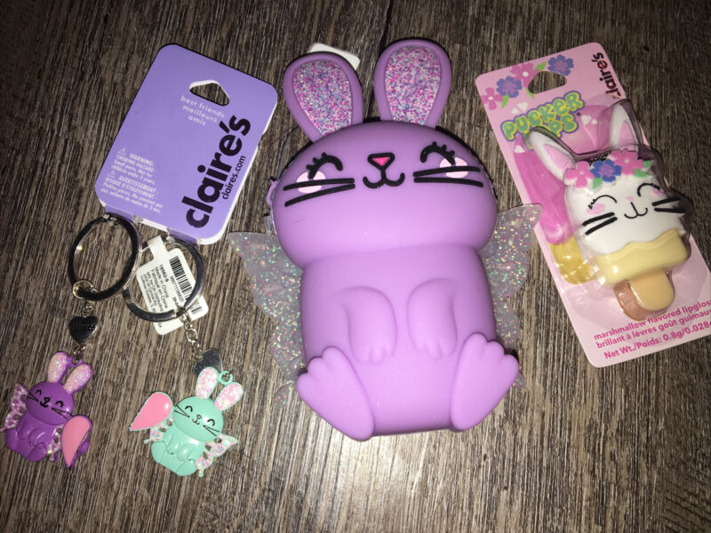 Claire's Fairy Bunny Coin Purse Lipgloss Bff Keychain Backpack Clip Easter Lot