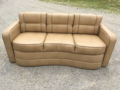 "Villa International 75"" Non-sleeper sofa couch RV motorhome coach seats Tan"