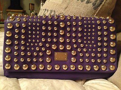 **NEW** Dolce & Gabbana Purple Gold studded Shoulderbag Clutch - Retail $1,495