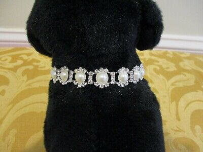 Pet Rhinestone Pearl Collar Bling Necklace Fancy Dress Up Small Dog Cat Puppy - Puppy Fancy Dress
