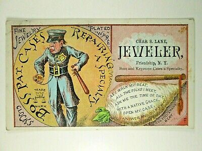 1880s Jeweler Trade Card - Police Man - Boss Watch Case Repair - Friendship NY