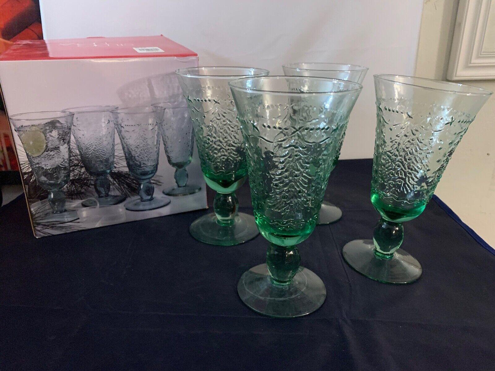 24 Green Christmas Tree Glasses Water Goblets STUDIO NOVA Holiday Cheer 7 TAL - $79.99