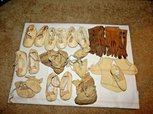 13 Lot Antique Civil War Victorian Baby Child Shoes Bootie Leather Gloves Button