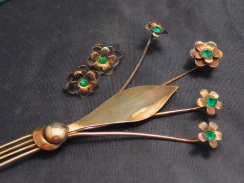 Art Deco MCM Sterling Silver Gold Vermeil Emerald Rhinestone Brooch Earrings Set