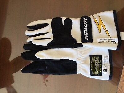 impact racing nomex fire resistant G4 BLACK GLOVES SIZE X Large Nomex Racing Gloves
