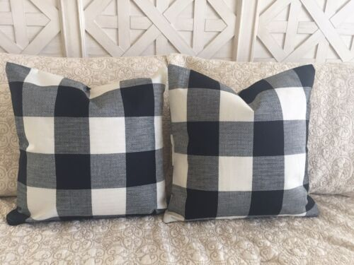 "2 Black Buffalo Check Pillow Covers Plaid Farmhouse 18"" Home"