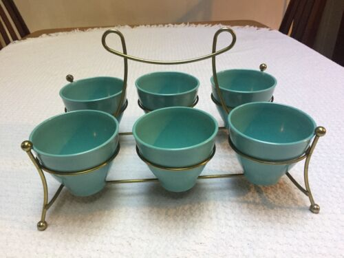 Russel Wright Home Decorators Turquoise Tumblers in Sputnik Gold Carrier