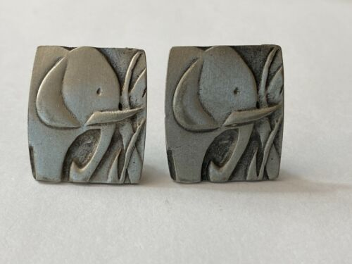 Vintage Earrings Pewter Elephant Theme Clip On Rectangle Retro Animal Estate