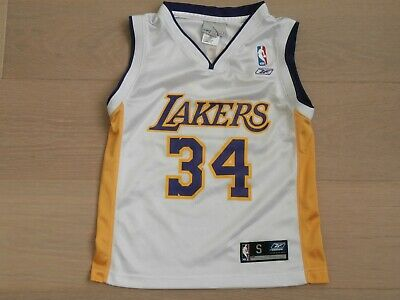 VINTAGE LOS ANGELES LAKERS #34 O'NEAL NBA REEBOK WHITE BASKETBALL JERSEY BOYS S