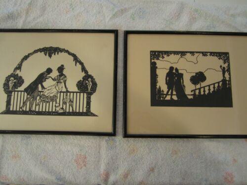 Vintage Black Silhouette Framed Art Paper Cutouts ~ Pair ~ Romantic Couple